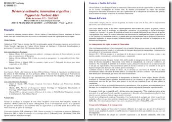 Déviance ordinaire, innovation et gestion : l'apport de Norbert Alter, Olivier BABEAU et Jean-François Chanlat