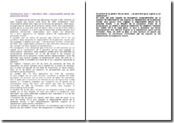 La responsabilité pénale des personnes morales, commentaire d'arrêt, 1er décembre 2009
