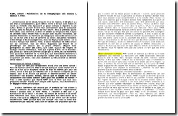 KANT, extrait « Fondements de la métaphysique des moeurs », section 1, 1785