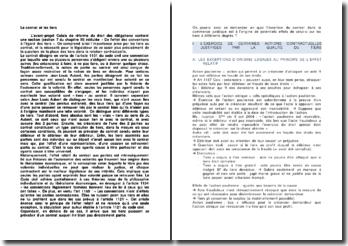 Le contrat et les tiers - action directe et opposabilité