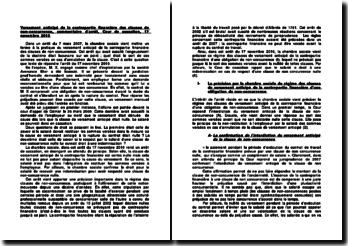 Versement anticipé de la contrepartie financière des clauses de non-concurrence, commentaire d'arrêt, Cour de cassation, 17 novembre 2010