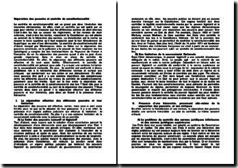 Séparation des pouvoirs et contrôle de constitutionnalité
