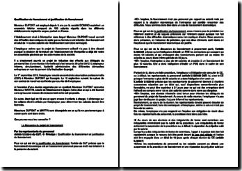 Qualification du licenciement et justification du licenciement