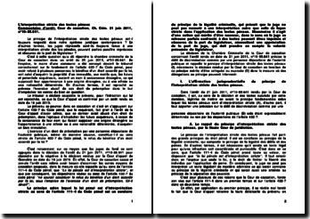 L'interprétation stricte des textes pénaux, commentaire d'arrêt, Cour de cassation, Ch. Crim., 21 juin 2011