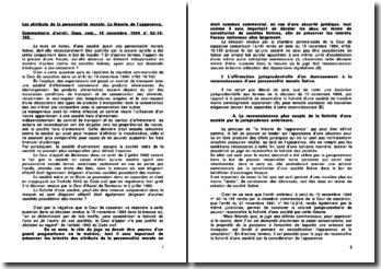 Les attributs de la personnalité morale: La théorie de l'apparence, commentaire d'arrêt, Cass. com., 15 novembre 1994