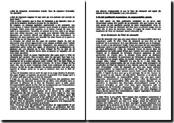 L'état de nécessité, commentaire d'arrêt, Cour de cassation Criminelle, 1er Juin 2010