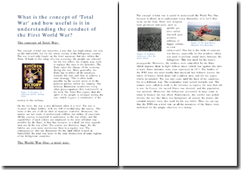 What is the concept of 'Total War' and how useful is it in understanding the conduct of the First World War?