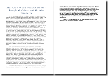 State power and world markets - Joseph M. Grieco and G. John Ikenberry