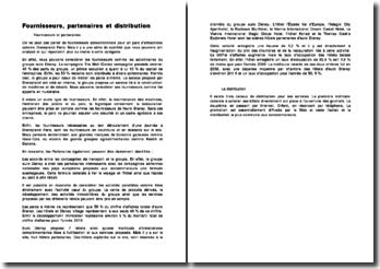Fournisseurs, partenaires et distribution