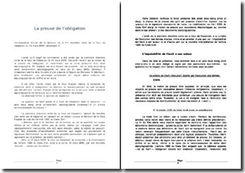 Commentaire d'arrêt de la décision de la 1ère chambre civile de la Cour de Cassation du 13 mars 2008: la preuve de l'obligation