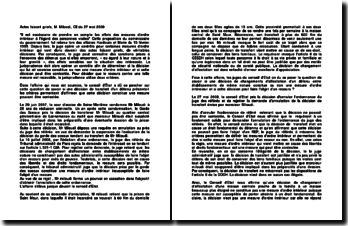 Actes faisant griefs, M. Miloudi, CE du 27 mai 2009