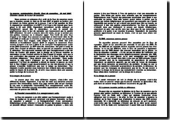 La preuve, commentaire d'arrêt, Cour de cassation, 23 mai 2007