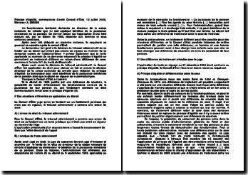 Principe d'égalité, commentaire d'arrêt Conseil d'État, 13 juillet 2006