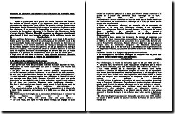 Discours de Churchill à la Chambre des Communes le 5 octobre 1938