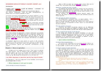 Géographie agricole et rurale - Chaléart, Charvet