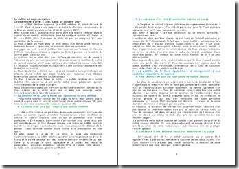 La nullité et sa prescription, commentaire d'arrêt, Com. Cass, 23 octobre 2007
