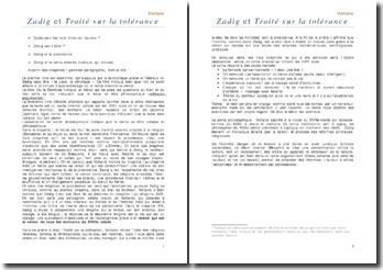 Zadig et le traité sur la tolérance - Voltaire -