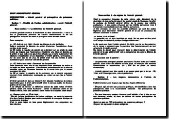 Droit administratif: intérêt général et prérogative de puissance publique