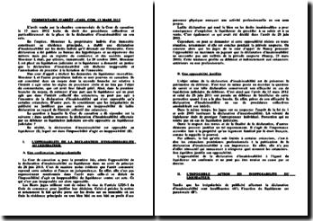 L'arrêt du 13 mars 2012, chambre commerciale de la Cour de cassation: droit des procédures collectives et particulièrement de la place de la déclaration d'insaisissabilité en son sein