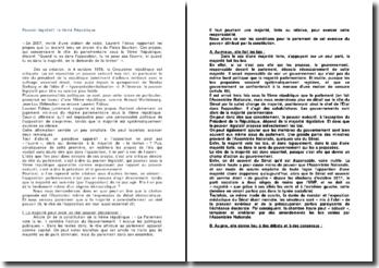 Pouvoir législatif: la Vème République