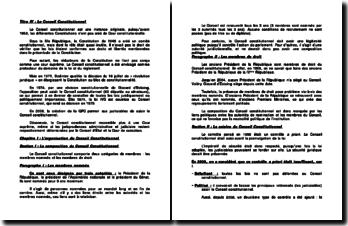 L'organisation du Conseil Constitutionnel