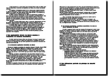 Arrêt rendu par le Conseil d'Etat le 24 mai 2006: notion de sécurité juridique