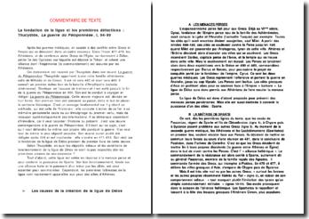 La fondation de la ligue et les premières défections : Thucydide, La guerre du Péloponnèse, I, 94-99