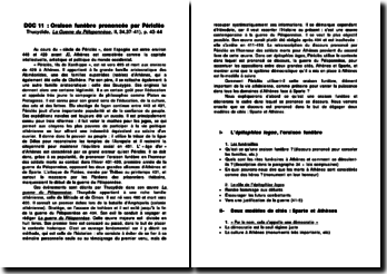 Oraison funèbre prononcée par Périclès: Thucydide, La Guerre du Péloponnèse, p. 43-44