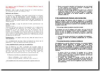 Les rapports entre le Président et le Premier ministre sous la 5e République