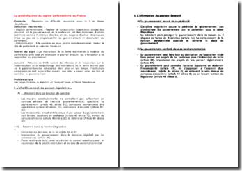 La rationalisation du régime parlementaire en France