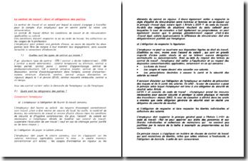 Le contrat de travail : droit et obligations des parties