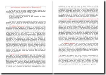 Les instances représentatives du personnel - délégués et comités