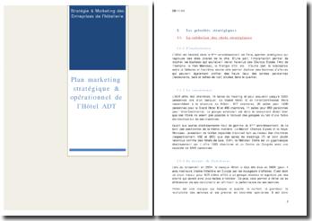 Plan marketing stratégique et opérationnel de l'Hôtel ADT