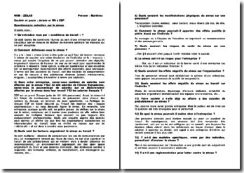 Questionnaire entretien sur le stress au juriste et RH d'EDF