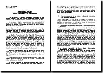 Droit pénal spécial, commentaire d'arrêt Perdereau, 16 janvier 1986