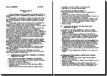 Commentaire de texte didactique: conclusion du Concordat de Worms et ses prérogatives en terme de répartition des privilèges de l'empereur et du pape