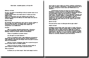 Fiche d'arrêt de la Cour de cassation réunie en son Assemblée Plénière en date du 19 mai 1978 : le licenciement pour cause religieuse