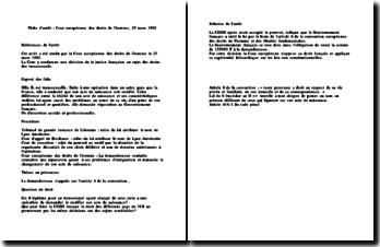 Fiche d'arrêt de la Cour européenne des droits de l'homme du 25 mars 1992 : les droits des transsexuels