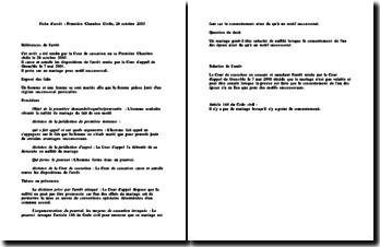 Fiche d'arrêt de la Première Chambre Civile de la Cour de cassation du 28 octobre 2003 : le mariage pour motif successoral
