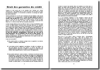 Sureté et Droit des garanties du crédit