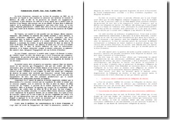 Commentaire d'arrêt. Cass. Com. 9 juillet 2002: la lettre d'intention