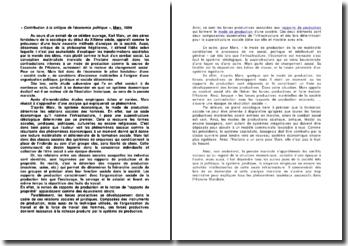 « Contribution à la critique de l'économie politique », Karl Marx, 1859
