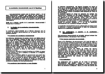 La coordination interministérielle sous la Ve République
