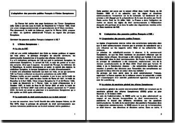 L'adaptation des pouvoirs publics Français à l'Union Européenne