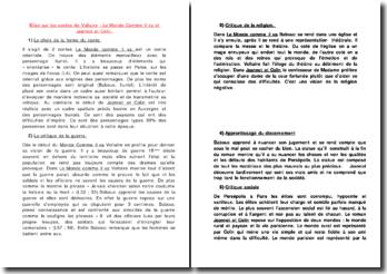 Bilan sur les contes de Voltaire : le Monde Comme il va et Jeannot et Colin