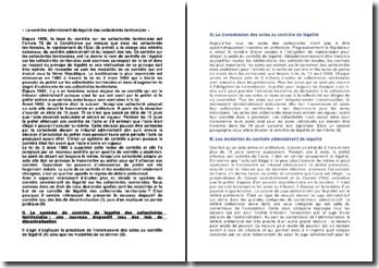 Le contrôle administratif de légalité des collectivités territoriales