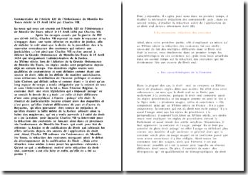 Commentaire de l'Article 125 de l'Ordonnance de Montils-lès-Tours édicté le 15 Avril 1454 par Charles VII