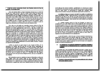 L'objet du contrat, commentaire d'arrêt, 1ère Chambre civile de la Cour de cassation, 14 novembre 2012