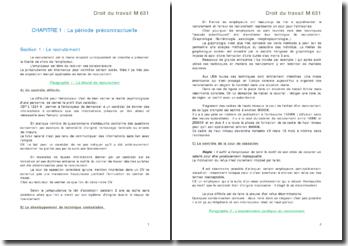 Droit du travail: période précontractuelle et type de contrat de travail