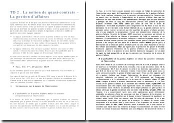 La notion de quasi-contrats: la gestion d'affaires